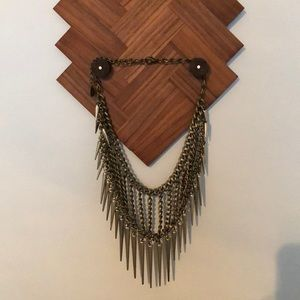 Gold Colored Spike/Chain Statement Necklace